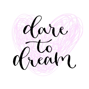 Dare to dream. Handwritten greeting card. Printable quote template. Calligraphic vector illustration. T-shirt print design.